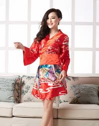 kimono style floral printing satin long sleeve dress