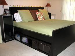 Black Wood Nightstand Bedroom Fascinating Malm Nightstand In Black Wood Staining Bed