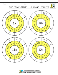 Times Tables 1 12 Times Table Worksheet Circles 1 To 12 Times Tables