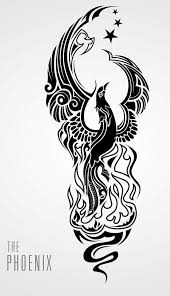 thin black curly phoenix bird with tiny stars tattoo design