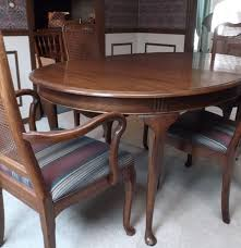 davis queen anne style table and cane back chairs ebth