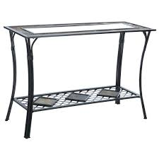 Quatrefoil Console Table Metal Glass Sofa Table Black Base Beveled Top Console Slate Steel