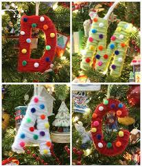 yarn and pom pom monogrammed ornament design dazzle