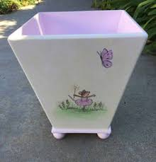 waste basket shabby chic trash can hand painted waste basket