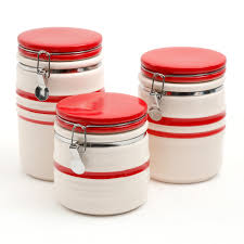 kitchen storage kitchen tools kitchen gibson home general store hollydale 3 piece canister set red