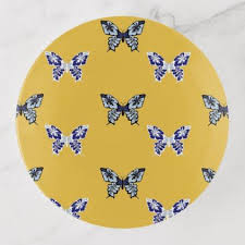 mustard and blue butterfly print trinket tray home gifts ideas