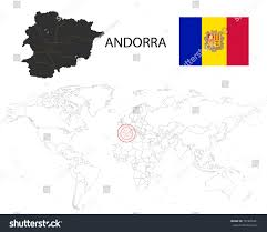 World Map With Flags Andorra Map On World Map Flag Stock Vector 781865491 Shutterstock