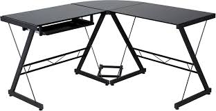 l shaped desk glass amazon com onespace 50 jn110505 ultramodern glass l shape desk