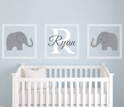 Baby Name Decor For Nursery Baby Nursery Decor Three Pieces Elephants Baby Name Decals For