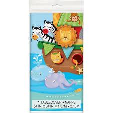 noah ark baby shower noah s ark baby shower plastic tablecloth 84 x 54