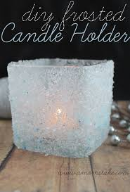 easy holiday crafts diy frosted candle holder christmas decor