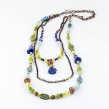 blue stones necklace images Long layered statement necklace with blue aquamarine lapis lazuli jpg