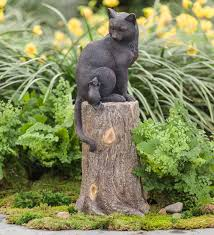 cat and mouse on stump lawn ornament decorative garden accents