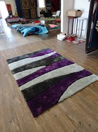 Purple Hardwood Flooring 2 Piece Set Handmade Vibrant Gray With Purple Shag Rug Rug