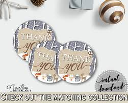 thank you round tag in brown and gray winter woodland baby shower
