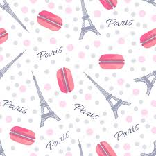 eiffel tower wrapping paper seamless pattern with tasty macaroons eiffel tower and