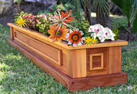 wooden planter boxes made out of redwood
