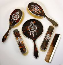 silver vanity table set antique edwardian english sterling silver and faux tortoise shell