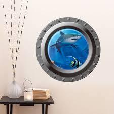 shark ocean view wall sticker 3d porthole window kids room home