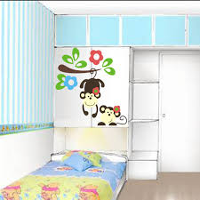 Nursery Monkey Wall Decals Cute Monkey Playing On Colorful Tree Wall Decal
