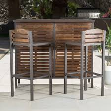 Acacia Wood Outdoor Furniture Durability by Amazon Com Bistro Bar Modern Rustic Brown Outdoor 3 Piece Milos