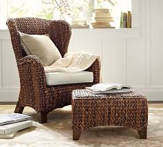 Seagrass Storage Ottoman Seagrass Wingback Armchair Pottery Barn