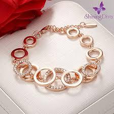 girls bracelet gold images Shining diva fashion jewellery 18k rose gold crystal stylish jpg