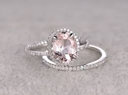 gold bridal sets morganite engagement ring white gold halo diamond bridal set 7x9mm