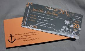 cruise wedding invitations orange gray swirl palm tree newport cruise ticket