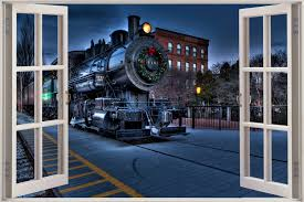 28 train wall murals details about new xl how to train your train wall murals huge 3d window view locomotive train wall sticker mural