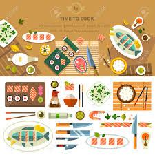 ustensiles de cuisine asiatique table à manger avec des plats en vue de dessus restaurant cuisine