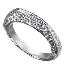 14k white gold 3 7 mm art deco style wedding band