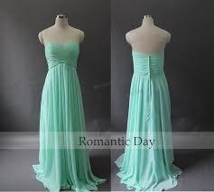 2015 sweetheart a line long chiffon mint green coral bridesmaid