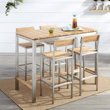 Coffee Bar Table Macon 5 Piece Rectangular Teak Outdoor Bar Table Set Natural