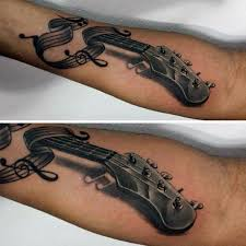 guitar male music note shaded tattoo design tattoos pinterest
