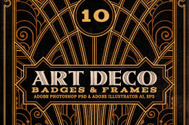 artdeco badges u0026 frames objects creative market