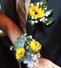sunflower corsage sunflower boutonniere and corsage s flower pot