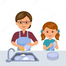 mere et fille cuisine mère et fille laver la vaisselle concept commun de travail des