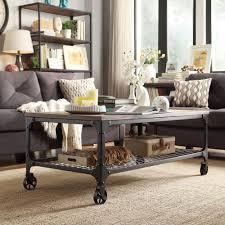 Industrial Rustic Coffee Table Rustic Coffee Table With Wheel Industrial Industrial Rustic