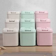 pink kitchen canisters vacuum food storage box sealed crisper can wheat straw storage
