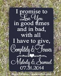 Personalized Wedding Plaque Rustic Wedding Sign I Promise To Love You Vows Love Quote