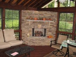Screen Porch Fireplace by Charlotte Screened Porch With Gorgeous Outdoor Fireplace Fire