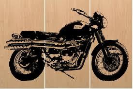 vintage triumph scrambler motorcycle screen print wood painting