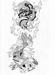 fish and dragon water and fire tattoo design by koast08 on deviantart