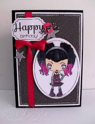 birthday card black white and pink punk emo rock teen
