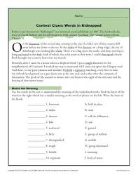 context clues worksheets for 4th and 5th grade kidnapped book