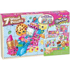 halloween jigsaw puzzle shopkins 7 wood jigsaw puzzles in wood storage box walmart com
