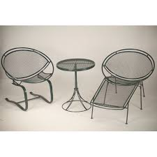 three pieces mid century modern wire mesh patio furniture wire