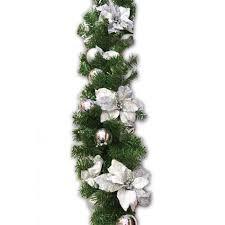 180cm pre decorated silver garland wreath garlands