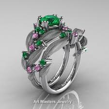 engagement ring and wedding band set nature classic 14k white gold 1 0 ct emerald light pink sapphire